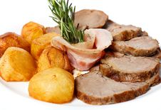 Free Sliced ​​ham And Golden Fried Potatoes Royalty Free Stock Photos - 25413468