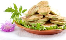 Free Fried Zucchini On A Brown Dish Stock Photo - 25413650