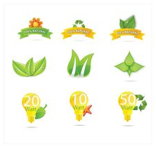 Free Green Eco Leafs And Symbols Set Stock Photo - 25416130