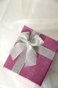 Free Gift Box With Silver Ribbon Royalty Free Stock Image - 25417946