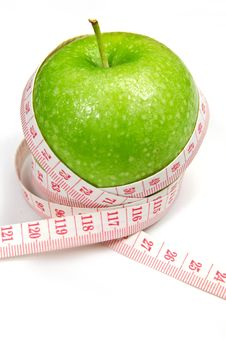Free Green Apple With Measurement Stock Images - 25418164