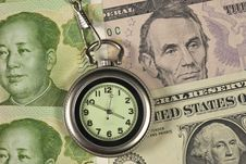 Free Pocket Watch And Dollar USA Vs RM Stock Photography - 25418212