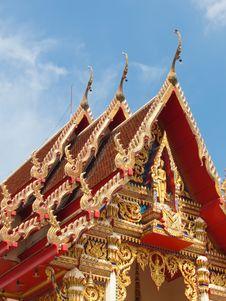 Gable Roof Of The Thai Church Stock Photos