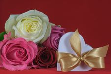 Free Heart Shaped Gift Box With Rose Stock Photo - 25419870