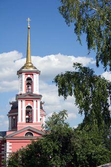 Belfry Of The Church Of St. Sergei Radonezhsky Stock Photo