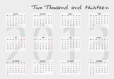 Free 2013 Calendar Stock Photos - 25428203