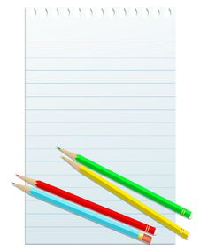 Free Blank Notepad Papper With Colorful Pencils Royalty Free Stock Photos - 25429628