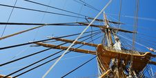 Ship Mast And Ropes Stock Image