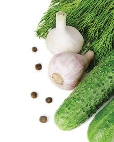 Free Cucumbers, Dill, Garlic And Pepper Pea Stock Photos - 25432273