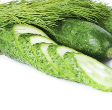 Free Cucumbers And Clove Of Cucumber, Dill Royalty Free Stock Images - 25432279