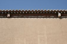 Ancient Chinese Roof And Rammed Earth Wall Detail Stock Photo