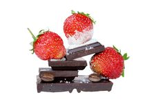 Free Desert With Strawberry And Chocolate Royalty Free Stock Image - 25440496