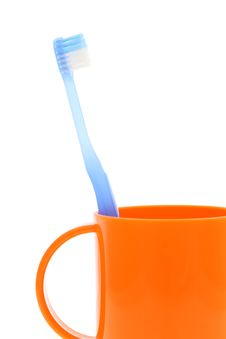 Free Blue Toothbrush And Cup Stock Images - 25441904