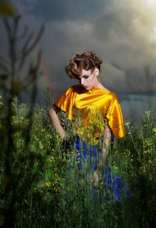 Free Nature. Fashion Model Standing In Evening Field Royalty Free Stock Photos - 25447788