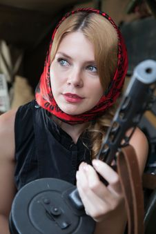 Free A Girl And A Gun Royalty Free Stock Image - 25448796