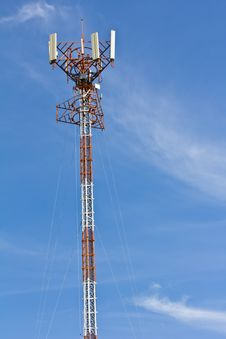 Free Telecommunication Tower With Antennas On Blue Sky Stock Images - 25454704