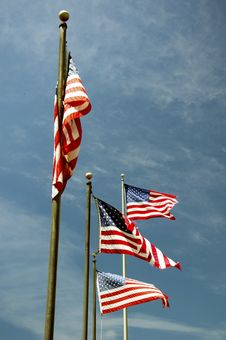 Free Flags Flying In The Clear Blue Sky Stock Photos - 25458373