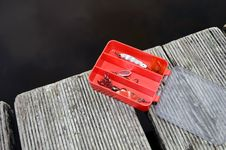 Fishing Tackle Box Red Stock Image