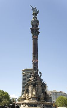 Spain, Barcelona. Monument To Columbus. Royalty Free Stock Photos