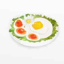 Free Fried Egg Sunnyside Up Royalty Free Stock Photos - 25466278