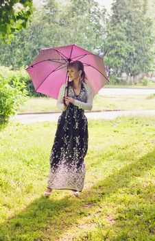 Free Woman With Umbrella Royalty Free Stock Images - 25469269