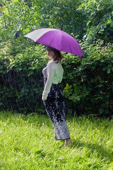 Free Woman With Umbrella Royalty Free Stock Photo - 25469335