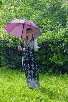 Free Woman With Umbrella Royalty Free Stock Image - 25469416