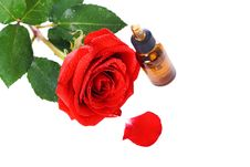 Free Bottles Of Essential Oil And Red Rose Stock Images - 25471184