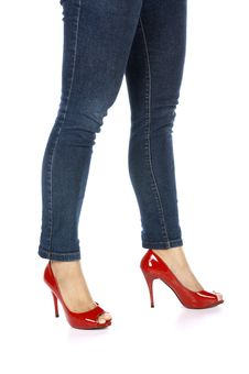 Female Legs With Red Shoes Stock Images