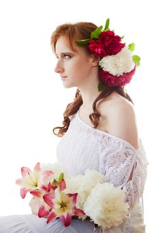 Free Woman With Flowers Royalty Free Stock Image - 25476826