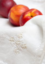 Free Napkin Embroidery And Nectarines Royalty Free Stock Images - 25487649