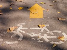 Free Image With Yellow Arrows And Bicycle Royalty Free Stock Photography - 25482297