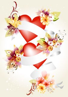 Free Elegant Illustration  With Hearts Royalty Free Stock Photography - 25486537