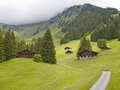 Free Swiis Chalet In The Valley Of Switzerland Royalty Free Stock Photo - 25493705