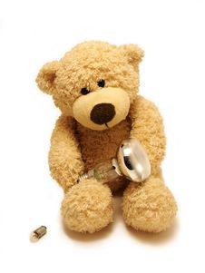 Teddy-bear & Bulbs Stock Photo