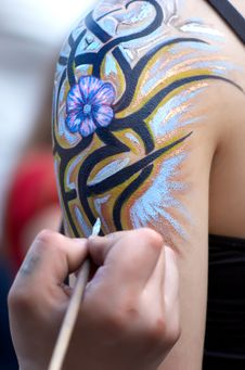 Free Body Painting In Process. Stock Images - 2550734