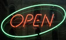Free Open, Shining Neon Sign Stock Image - 2552311