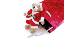 Santa Teddy With His Gift Bag Stock Photos