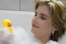 Looking At Duck Royalty Free Stock Photography