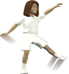 3D - Cartwheel Girl Royalty Free Stock Image