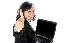 Free Happy Woman Using Laptop Stock Photography - 25500122