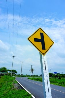 Country Road And Signs. Royalty Free Stock Photos