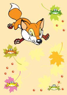 Little Fox In Autumn Royalty Free Stock Images