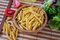 Free Uncooking Italian Pasta In Bowl Stock Photo - 25505800