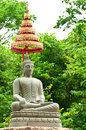 Free Buddha Image Made From Sand Stone With Trees Royalty Free Stock Images - 25510179