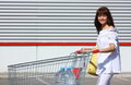 Free Woman With Shopping Cart Royalty Free Stock Photography - 25514927