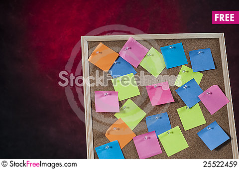 Free Red Dangerous Background With Cork Board Full With Colored Post Notes Royalty Free Stock Images - 25522459