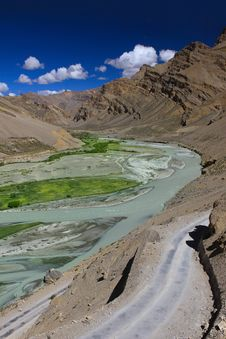 Free Mountain Landscape With River. Zanskar Royalty Free Stock Photos - 25523178