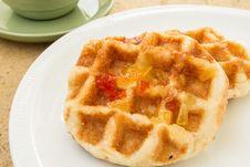 Free Waffles On Dish Stock Photography - 25527792