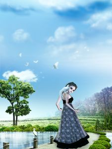 Free Girl In Dreamland Royalty Free Stock Photo - 25531245